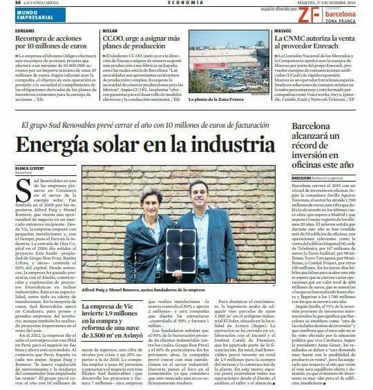 Sud Renovables a La VanguardiaSud Renovables a La Vanguardia