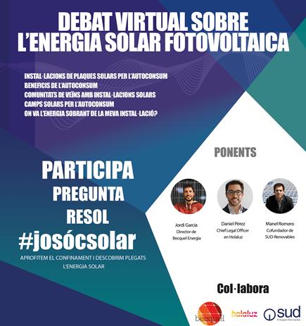HolaLuz, SUD Renovables i Becquel organitzen un debat virtual sobre energia solar amb la col·laboració de l'ICAEN